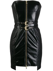Just Cavalli Quilted Panel Tube Dress Black