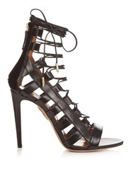 Aquazzura Amazon Lace Up Leather Sandals Black
