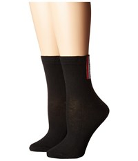 Steve Madden 2 Pack Smile With Solid Black Crew Cut Socks Shoes