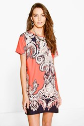 Boohoo Paisley Border Print Shift Dress Neon Coral Neon Coral
