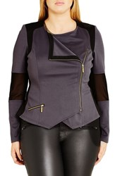 City Chic Plus Size Women's 'Mono' Ponte Moto Jacket