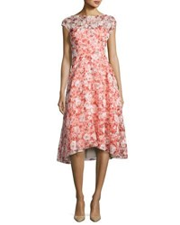 Lela Rose Flocked Poppy Print Organza Dress Red