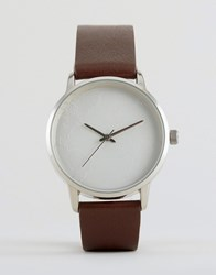 Asos Watch With Map Engraved Face Brown