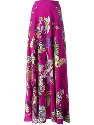 Etro Floral Print Maxi Skirt Pink And Purple