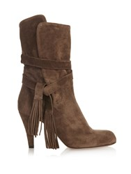 Chloe Tassel Suede Ankle Boots