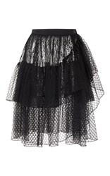 Rodarte Black Lace And Honeycomb Tiered Wrap Skirt