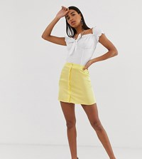 Reclaimed Vintage Inspired Satin Mini Skirt With Button Front Yellow