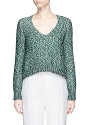 Lanvin Metallic Tweed Effect Sweater Green