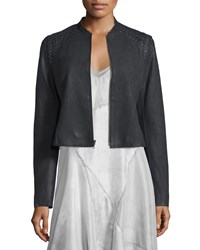 Elie Tahari Janet Lace Up Leather Jacket Women's Cocoa