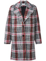 Carven Plaid Single Breasted Coat Multicolour