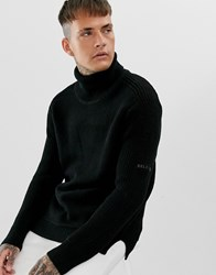Religion Chunky Knit Jumper With Roll Neck In Black