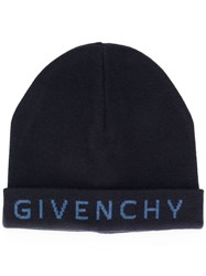 Givenchy Embroidered Logo Knitted Hat Blue