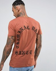 Criminal Damage T Shirt With Back Print Rust Orange