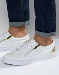 Asos Sneakers In White With Gold Zip White