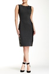 Nydj Mia Ponte Faux Leather Blocked Dress Black