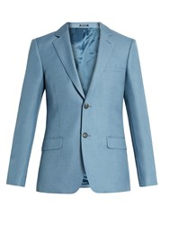 Alexander Mcqueen Single Breasted Mohair And Silk Blend Blazer Light Blue