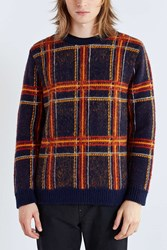 Cpo Brushed Plaid Crew Neck Sweater Navy