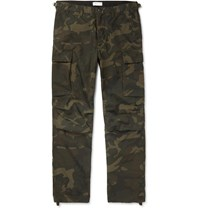 J.Crew Camouflage Print Cotton Blend Ripstop Cargo Trousers Green
