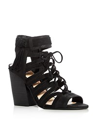 Vince Camuto Ranata Caged Lace Up High Heel Sandals Black