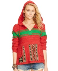 Denim And Supply Ralph Lauren Printed Hoodie Red Green Stripe