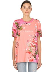 Givenchy Flower Printed Cotton Jersey T Shirt Pink