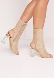 Missguided Faux Suede Perspex Peep Toe Heeled Boots Nude Brown