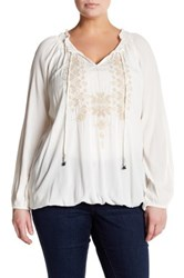 Jessica Simpson Long Sleeve Front Tie Blouse Plus Size White