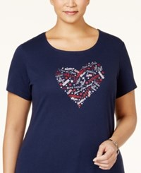 Karen Scott Plus Size Heart Graphic T Shirt Only At Macy's Intrepid Blue