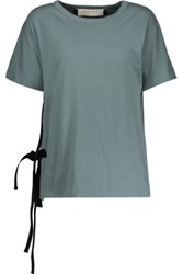 Marni Tie Side Cotton Jersey T Shirt Gray Green