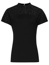 Reiss Isha Embellished Knitted Wool Top Black