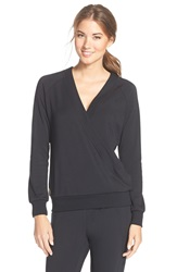 Lole 'Sasmita' Crossover Fleece Top Black