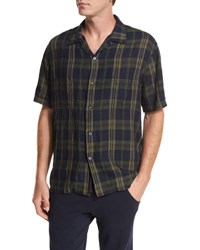Vince Plaid Short Sleeve Cabana Shirt Blue Green Blue Green
