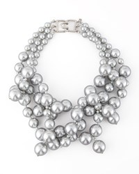 Simulated Pearl Cluster Necklace Silver Women's Kenneth Jay Lane