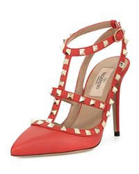Valentino Rockstud Leather Caged Pump Coral