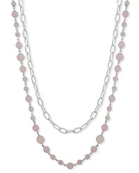 Ralph Lauren Two In One Strand Necklace 26 Pink Silver