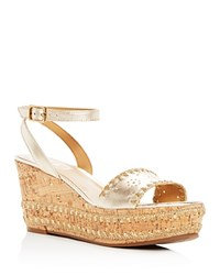 Jack Rogers Women's Lennon Leather And Cork Wedge Platform Sandals Platinum