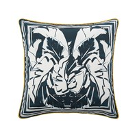 Roberto Cavalli Foglie Kaft Silk Bed Cushion Blue