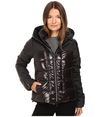 Duvetica Angusina Inset Quilted Down Hooded Jacket Nero Women's Coat Black