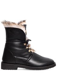 Giuseppe Zanotti 30Mm Leather And Rabbit Fur Ankle Boots Black Leopard