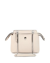 Fendi Dotcom Click Small Quilted Chain Shoulder Bag White