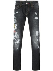 Philipp Plein Tiger Embroidered Jeans Grey