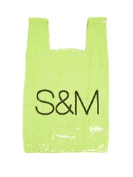 Ashish S And M Sequin Embellished Cotton Bag Green