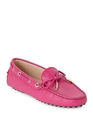 Tod's Leather Slip On Boat Shoes Pink