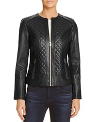 Cole Haan Quilted Leather Jacket Black