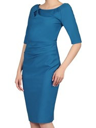 Jolie Moi Half Sleeve Ruched Wiggle Dress Teal