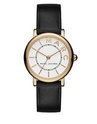 Marc Jacobs Roxy Goldtone Stainless Steel And Leather White Satin Dial Strap Watch Black