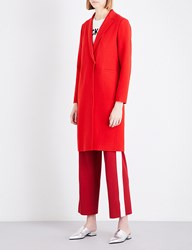Moandco. Ladies Red Classic Worsted Wool Blend Coat