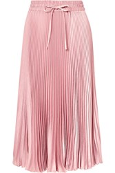 Red Valentino Redvalentino Pleated Crepe De Chine Midi Skirt Pink