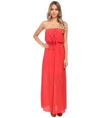 Gabriella Rocha Gauze Tube Ruffle Front Maxi Dress Deep Coral Women's Dress Multi