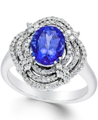 Macy's Tanzanite 1 3 4 Ct. T.W. And Diamond 1 2 Ct. T.W. Ring In 14K White Gold Purple